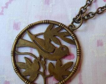 Antique Brass Bird Pendant Necklace