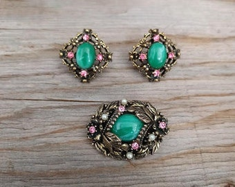 Vintage Brooch and Screw-back Earrings