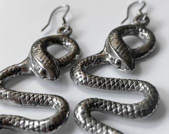Snake Earrings |long dangling earrings |snake jewelry |animal earrings