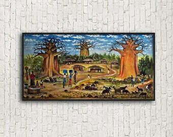 Original African Acrylic Painting of Malawian Village, African Wall Art, African Decor, Ethnic Decor, Original African Artwork