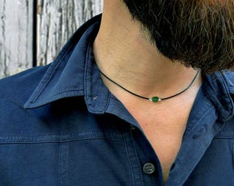 Mens leather necklace. Mens necklace with Jade and sterling silver. Jade necklace for man. Jade beads necklace. Gifts for him