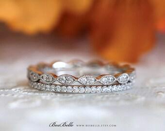Silver Art Deco Eternity Ring Sets-0.97 ct.tw Pave Set Diamond Simulants-Double All Around Stones Eternity Ring-Sterling Silver [65360E-2]