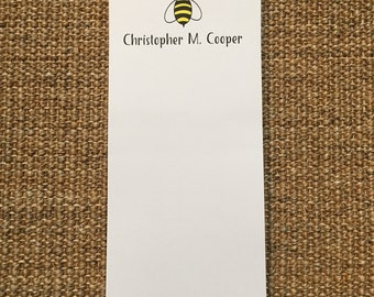 Bee Notepad -  Notes - Desk - Personalized - Custom - Gift - Favor - 3.67x8.5 - 5.5x5.5 - 5.5x8.5