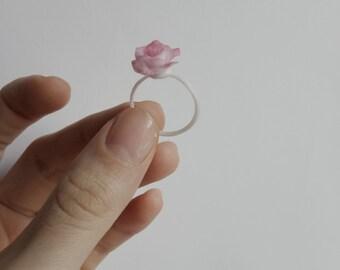 Rose ring Light rose ring pink rose jewelry