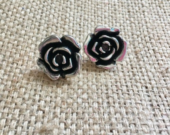 Silver Rose Studs, Large Rose Studs, Metal Rose Studs, Silver Flower Studs, Silver Rose Earrings, Rose Earrings, Rose Studs, Flower Jewelry