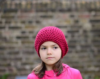 Girls Slouchy Beanie, Childrens Hat, Crochet Slouchy Hat, Kids Accessories, Fall Fashion, Red