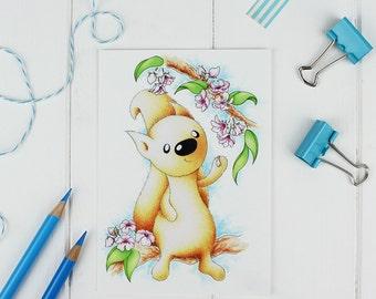 Spring Blossom Blossoming Squirrel Postcard - girls birthday gift, new baby girl, nursery wall art, girls room decor, flower gift, pink