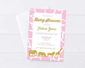 Pink Safari Baby Shower Invitation, Pink & Gold Invite, Gold Foil Safari Animals, Baby Sprinkle Safari Theme, 4x6 or 5x7- Digital File