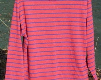 PATAGONIA small long sleeve cotton Tshirt pinkish red with blue stripes Patagonia long sleeve pink and blue striped Small jersey