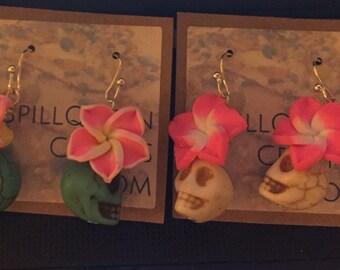 Day of the Dead Earrings, Polymer Clay Flower Earrings, Stone Skull Earrings, Sugar Skull Earrings, Dangle Earrings, Gift for Her