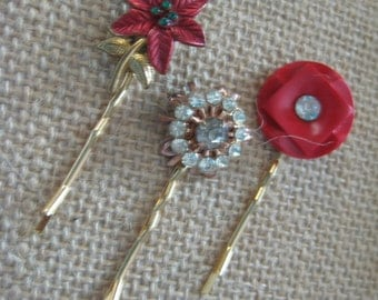 Set of 3 Hair Pins, Christmas,Holidays,Poinsettia,Red,Vintage Button,Rhinestones,Vintage Earring, Vintage, Upcycled, Recycled, Reclaimed/hp6