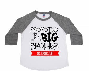 Promoted to Big Brother - Big Brother Announcement Shirts - Brother Shirts - Big Brother to Be - Personalized - Boys' Shirts