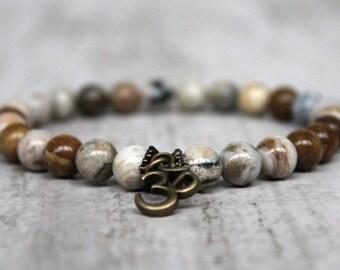 OM bracelet Charm bracelet Ocean jasper yoga bracelet spiritual jewelry buddhist bracelet beaded bracelet gift girlfriend Wife gift For him