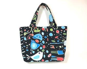 SALE! Blue Bird Tote Bag,Cotton Canvas Tote,Large tote bag,shopping Bag, Womens Tote, Shoulder bag,School Bag, Market bag, gift for her, Mom