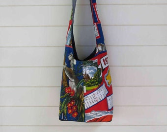 Crossbody Hobo Slouch Bag Bright Red and Blue Hobo Bag made from Vintage 1979 Souvenir Tea Towels and Recycled Denim (38th birthday)