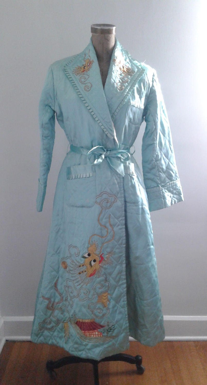Vintage 1940's Baby Blue Quilted Satin Robe Chinese Dragon ... : quilted satin robe - Adamdwight.com