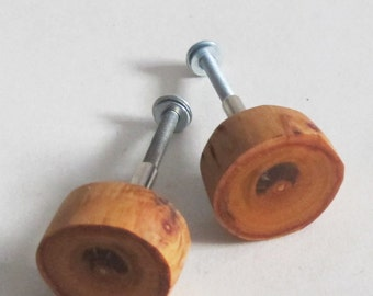 Set of 2 Wood Cabinet Knobs, Rustic Wooden Drawer Knobs, Pull Handles, Drawer Dresser Knobs