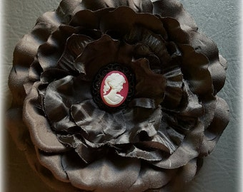 SALE!!!*** Hair Flower Clip - Oversized Large Black Satin Flower with Cameo Centrepiece. Clip and/or Brooch