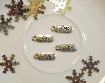 Cursive JOY Charms, Set of 4 - Jewelry Supply, Scrapbook, Metal Embellishment, Mini Album, Tag, Junk Journal, Happy, Peace, Faith, Virtue