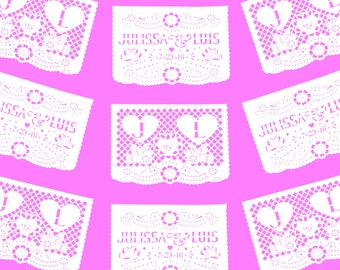 """PAPEL PICADO """"Mexican Wedding - 2 Personalised Flags Repeated"""" 