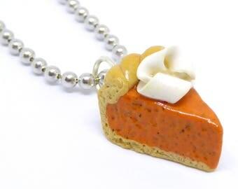 Pumpkin Pie Charm, Pumpkin Pie Jewelry, Pumpkin Pie Necklace, Pie Slice Charm, Polymer Clay Charm, Miniature Food Jewelry, Kawaii Food Charm