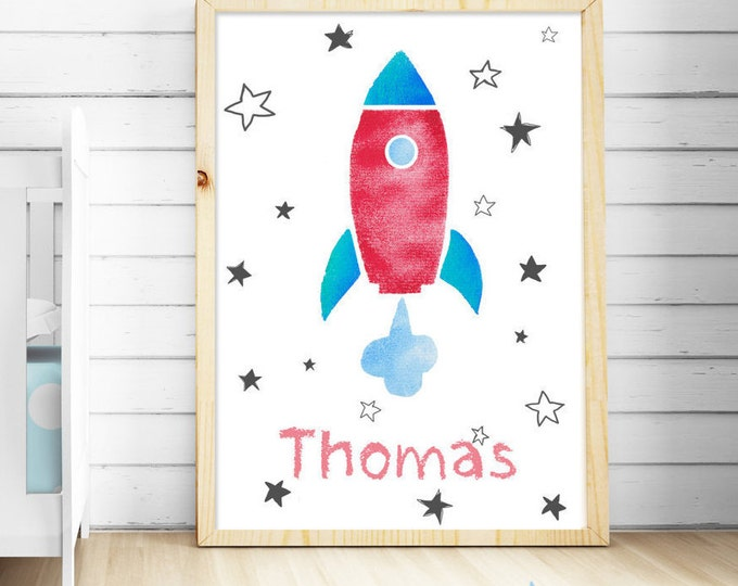 Nursery ROCKET illustration for kids,personalized name,child 's room,space,planets,baby boy shower,boys prints room,wall children