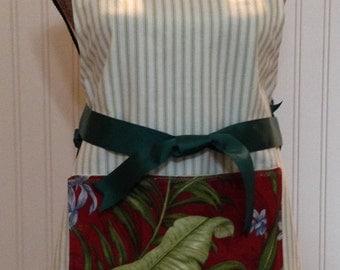 Full apron spring green ticking ecru eyelet lace burgundy green palm frond pocket forest green grosgrain ribbon