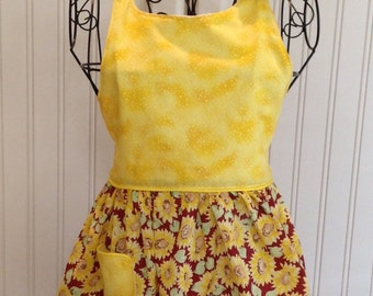 Vintage style girls full apron sunflowers burgundy yellow flowered ties yellow bodice yellow trim