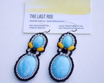 Bright Blue Statement Earrings; Blue Resin Earrings; Giant Statement Earrings; Pastel Blue Earrings;