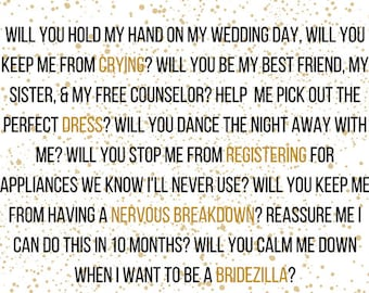 2 Pack - Will You Be My Bridesmaid / Maid of Honor Cards - Gold Flakes