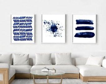 Abstract Watercolor Prints Set Indigo Blue Stripes Splatter Dashes Paint Strokes Dots Minimalist art Large Wall art Navy Large Abstract Art