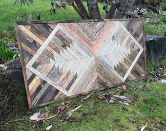 Rustic Modern Geometric Wood Pattern Wall Art