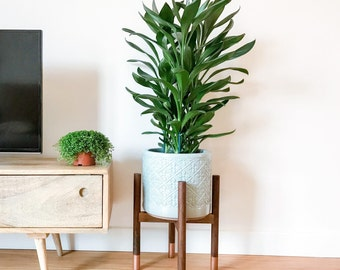 Walnut hardwood mid-century plant stand. Beautiful, cool hand crafted design.