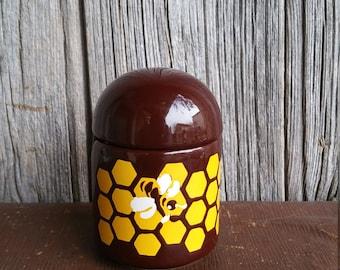 Pot de miel en céramique ouest de l'Allemagne des années 1970 vintage ou pot de miel - poterie ouest-allemande Vintage petit déjeuner confiture ou Pot de miel
