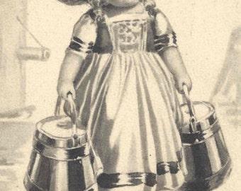 1915 Antique German Girl Postcard Greetings Girl Boy Black White