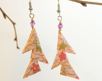 "Origami ""Reasons salmon Triangles"" earrings"