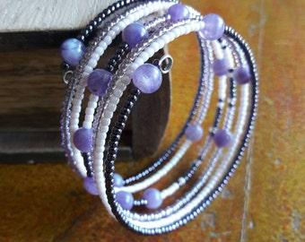 Purple spring bracelet/violet rose/bracelet with amethyst//gift Idea for her//Memory bracelet