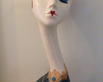 Swan neck mannequin head Alice in Wonderland Red Queen theme