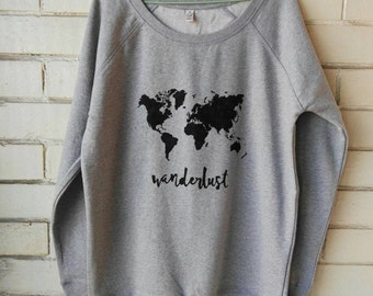 Wanderlust world map woman ORGANIC sweatshirt. Hand-painted. Earth Positive®. Eco friendly.