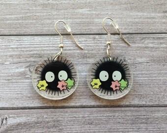 Soot sprite earrings from Spirited Away - Miyazaki, Ghibli studio, geek, cute, kawaii, japanese, lasercut acrylic