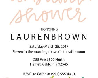 Bridal shower editable invitation with flowers