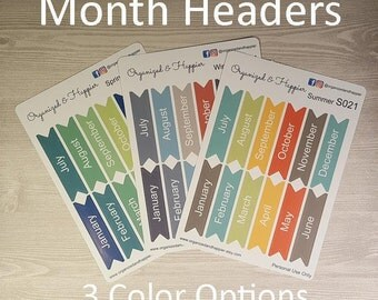 Month Headers Labels Stickers for Planner Pages Multi Color Erin Condren Planner #S021