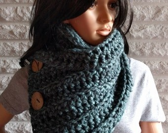 Women's chunky button neck scarf, women's blue button cowl, women's winter scarf, accessories, gifts for her, fall, winter, spring fashion