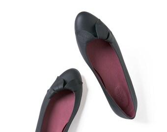 Party shoes, Black shoes, Leather shoes, Handmade shoes, Ballet flats, Women's shoes, bridesmaids shoes, Last pair size 40 EU