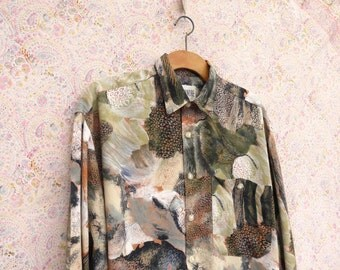 1980's shirt Alexandre Men 80's Vintage green beige abstract print Long sleeve shirt Party Hipster Casual Shirt large xlarge