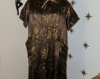 Vintage 1950s gold oriental print duster robe Dream Wear pajamas S-2X 426
