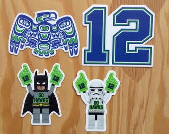 Seattle Seahawks Stickers -- Set of 4 Mini Decal Stickers -- Seahawk Decals -- Go Hawks -- 12th Man -- 12 -- Seattle Stickers -- PNW Decals