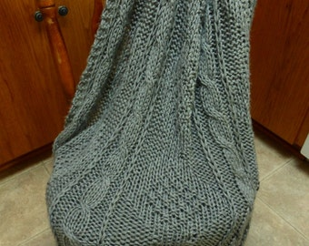 Old-fashioned diamond and cable afghan.  Free domestic USPS priority shipping!!