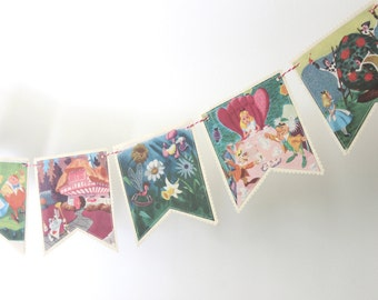 Disney's Alice in Wonderland - Recycled Book Bunting - Nursery or Party Decoration