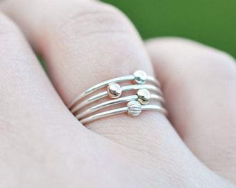 Orbit Spinner Ring 925 - Sterling Silver and Gold Bead Ring - Spinner Fidget Ring - Atom Ring - Satellite Bead Ring